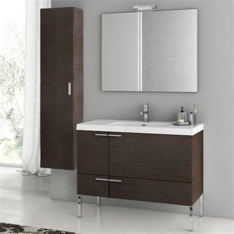 Bathroom Vanities With Storage Modern 39 Inch Bathroom Vanity Set With Storage Cabinet Glossy White Zuri Furniture