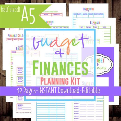 x small printable budget planner set sized 3 75x6 75 printable budget finances planning kit pdf printables