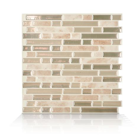 smart tiles bellagio keystone 10 06 in w x 10 00 in h peel and stick decorative mosaic wall smart tiles bellagio sabbia beige 10 06 in w x 10 00 in