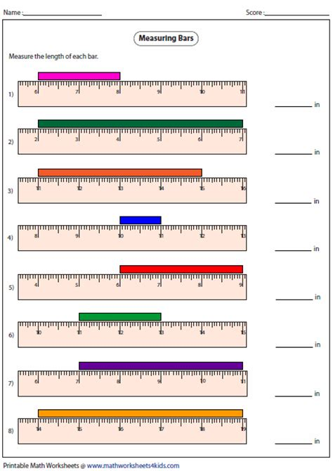 simple combover lengths of measure measuring length worksheets