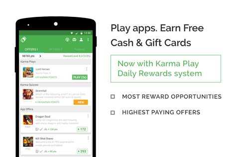 Android Gift Card App - appkarma rewards gift cards android apps on google play