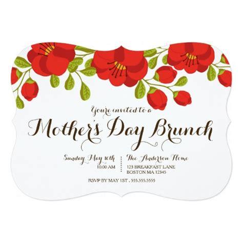 s day brunch invitations poppy garden floral s day brunch invitation card