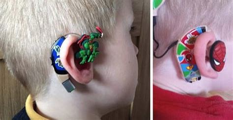wraring hearing aid washed hair chion mom transforms son s hearing aids into