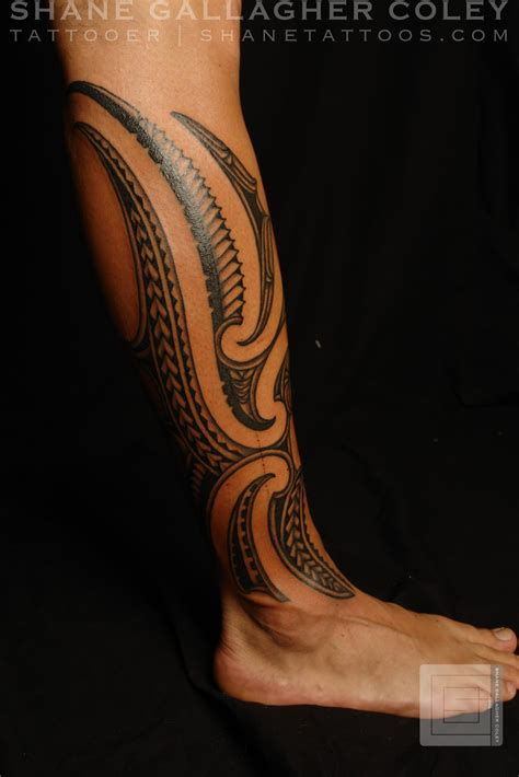 tribal calf tattoo designs shane tattoos maori polynesian fusion calf