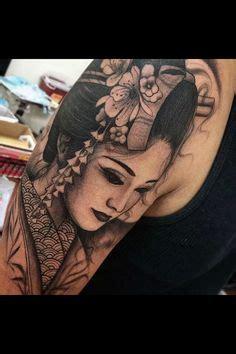 geisha kriegerin tattoo realistic geisha tattoo half sleeve pinteres