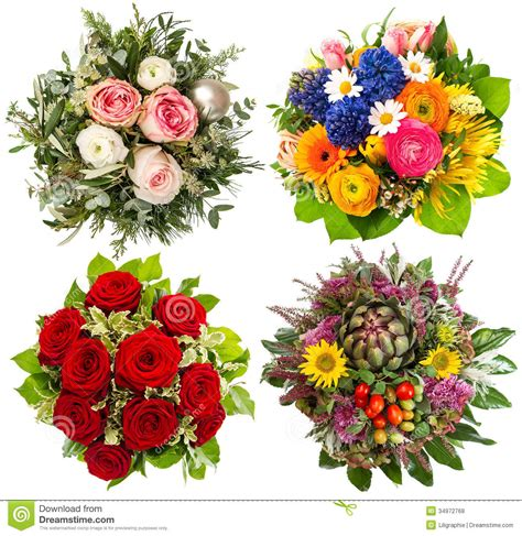 colorful spring flowers bouquet four colorful flowers bouquet for seasons royalty free