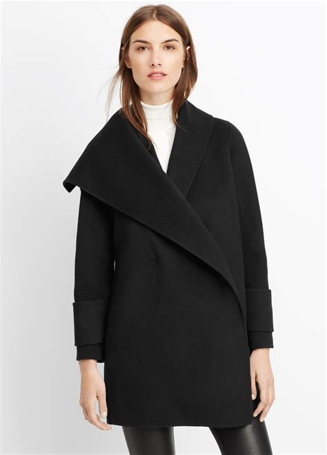 drape coat womens vince wool drape front coat in black lyst
