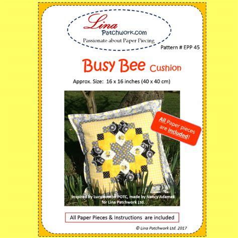 Busy Bees Patchwork - pattern epp 46 busy bee cushion 171 lina patchwork