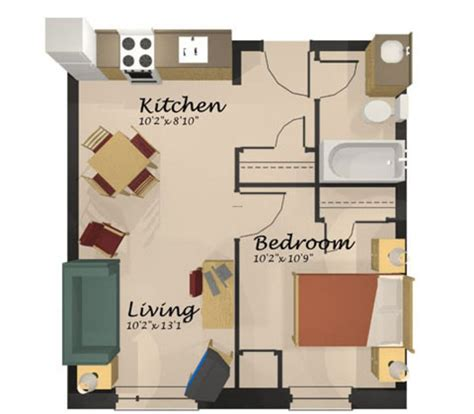 One Room Floor Plans by Home Design One Room Apartment Floor Plan Apartment