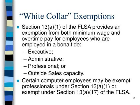 section 13 a 1 of the flsa ppt fair labor standards act flsa powerpoint