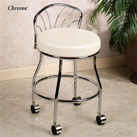 vanity chair with back and wheels bathroom ideas chrome metal based vanity chair with