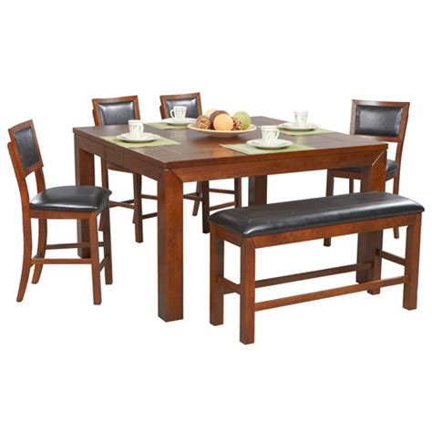 franklin wood counter table cushion back stools in