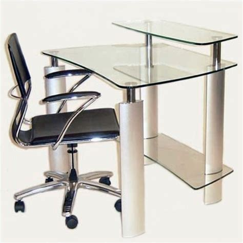 Steel Computer Desk Chintaly Computer Desk With Metal Legs In Stainless Steel 6912 Dsk B T Kit