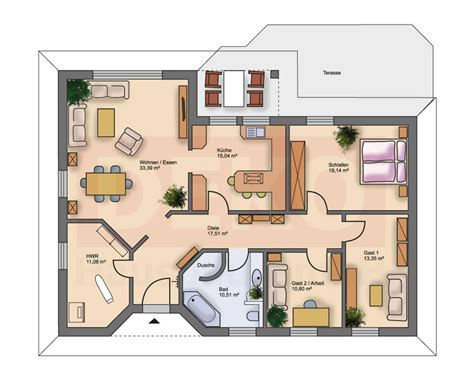 1 Schlafzimmer Haus Plan by Sch 246 Ne Bungalow Grundrisse Haus Design Und M 246 Bel Ideen