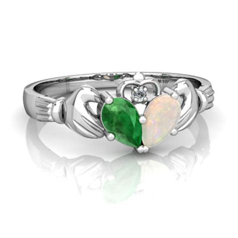 emerald and opal claddagh ring r2388 wemop