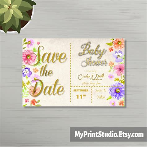 save the date templates for baby shower save the date unisex baby shower card template in word boy or