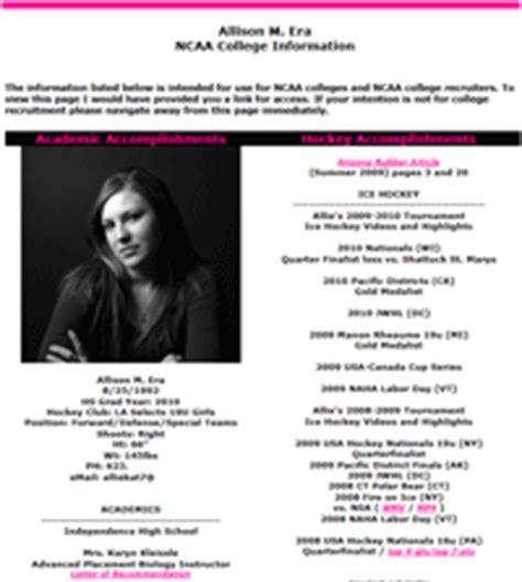 Female Athlete College Prospect Bio Page Coach Bio Template
