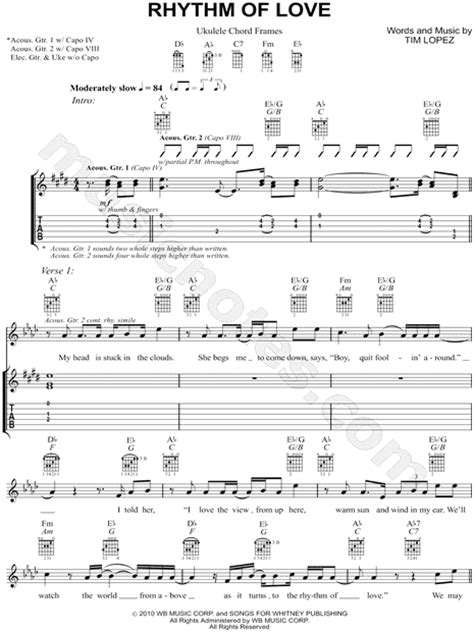 swing to the rhythm of love chords plain white t s quot rhythm of love quot guitar tab in ab major