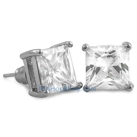 Square Stud white cz square stud earrings rhodium cz