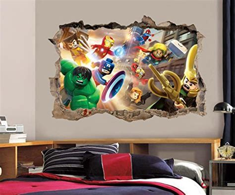 deadpool smashed wall decal graphic wall sticker home lego marvel dc smashed wall 3d decal removable graphic