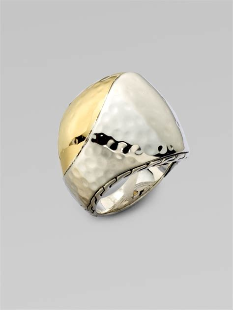 hardy 18k gold sterling silver bold ring in metallic