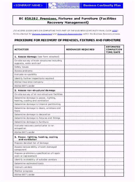 disaster recovery procedures template disaster recovery plan review checklist gantt