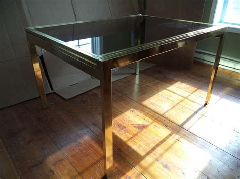 Brass Extension Dining Table By Dia With Smoked Glass Top Glass Top Extension Dining Tables