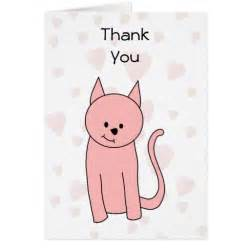 pretty pink cat with hearts thank you cards zazzle