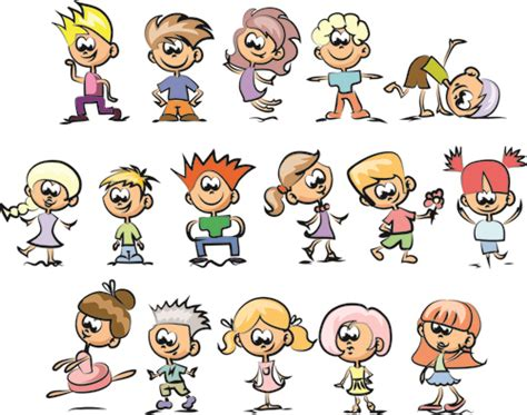 cartoon hairstyles cute cute children cartoon styles vector 03 vector cartoon