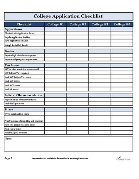 College Application Checklist Spreadsheet by 25 Best Ideas About College Checklist On