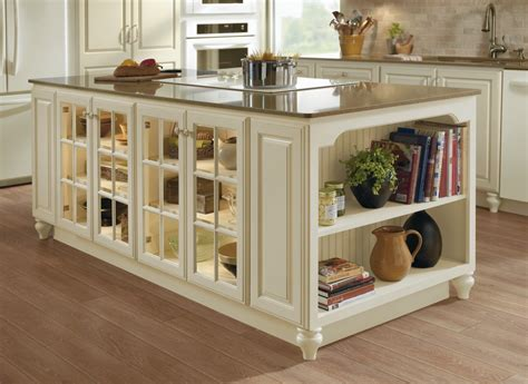 Kitchen Island With Cabinets Kitchen Island Cabinet Unit In Ivory With Fawn Glaze And Glass Mullion Cabinet Doors With
