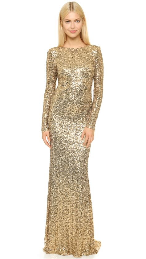 Sequin Sleeve Avail In 3 Colours Place 08 lyst badgley mischka sleeve sequin gown gold in metallic