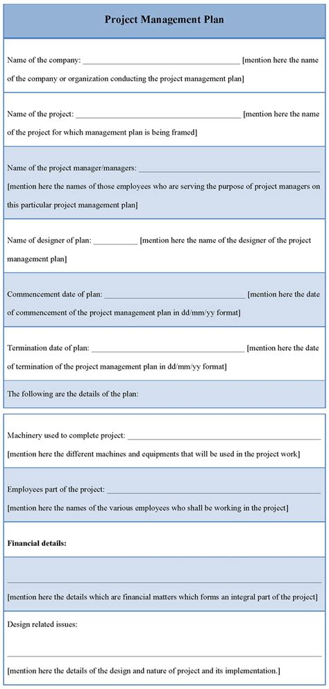 plan template  project management   project