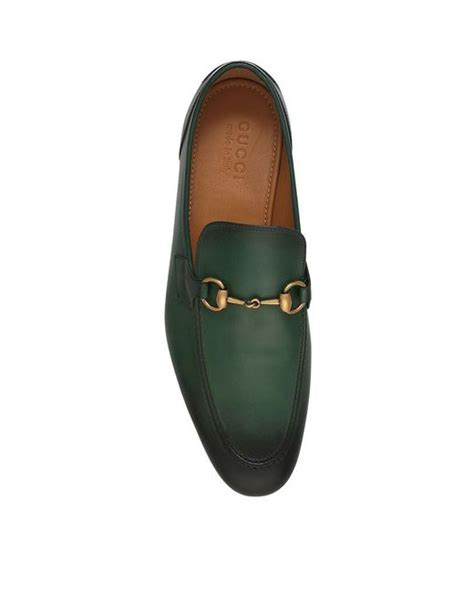 green gucci loafers gucci jordaan leather loafers in green for save 10
