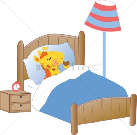 My Bedroom Clipart A Giraffe Sleeping In Bed Vector Image 1259250