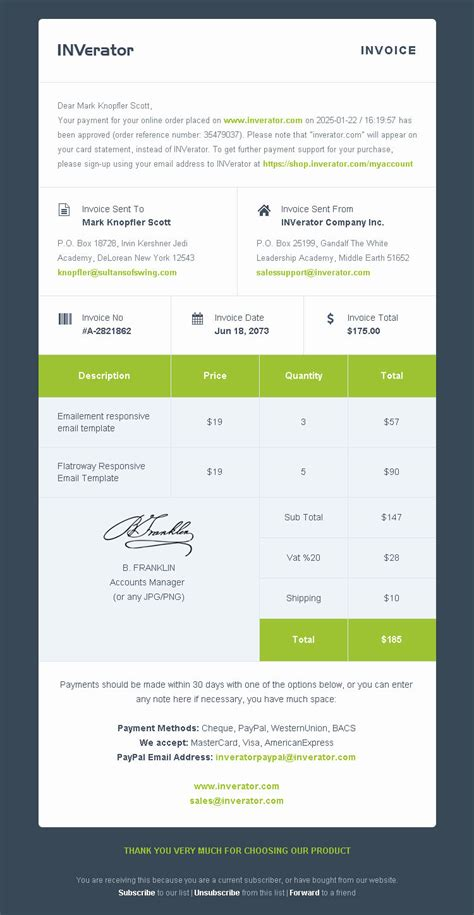 Invoice Template Ecommerce Email Builder Payment Receipt Mailchimp Newsletter Builder Ready Email Template Builder Software