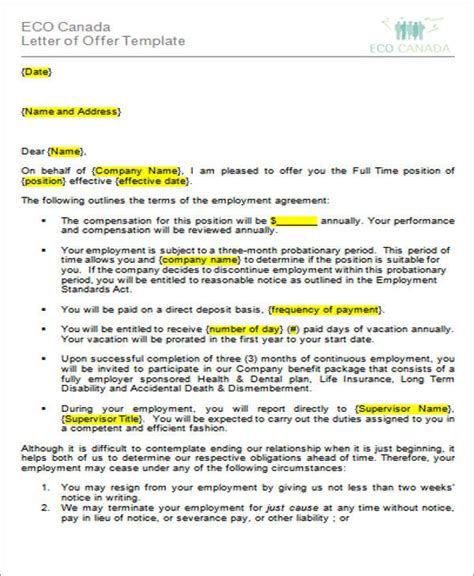 Offer Letter It Company 34 Offer Letter Formats Free Premium Templates