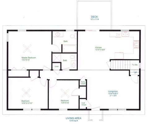 Simple House Floor Plan | simple one floor house plans ranch home plans house