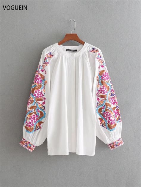 Floral Embroidered Pullover voguein womens floral embroidered sleeve pullover