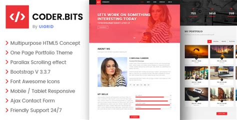 Coder Bits Personal Bootstrap Portfolio Template Parallax By Uigrid Personal Page Template Bootstrap