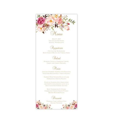 wedding menu card romantic blossoms tea length printable diy wedding template shop