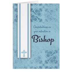 congratulations bishop ordination in blue greeting card zazzle