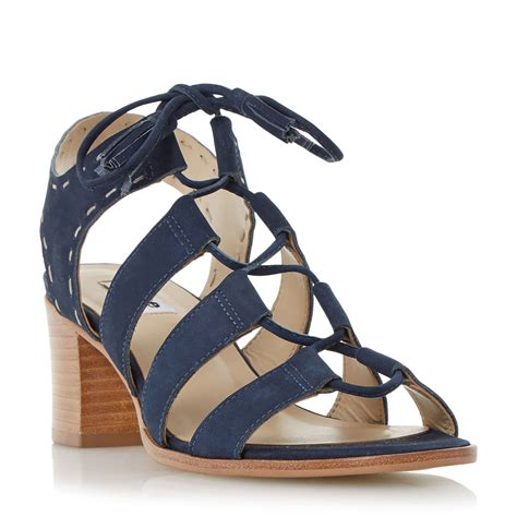 navy blue sandals dune ivanna ghillie lace block heel sandals in blue navy