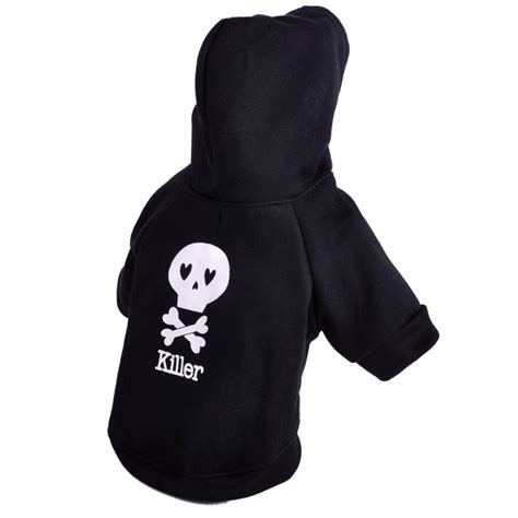 black skull pet hoodie clothing coat small puppy cat