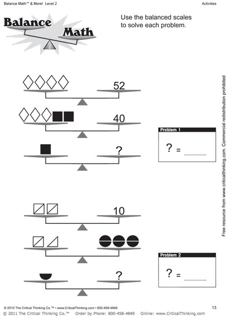 Pan Balance Worksheets by Through The Calm And Through The Review Balance Math