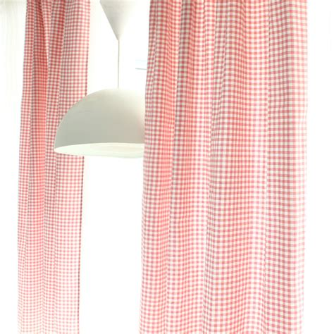 Timeless And Classic Fresh Pink Plaid Curtains