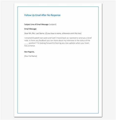 patient follow letter templates lovely follow email