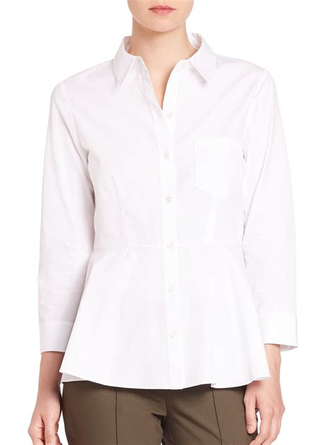 White Peplum Blouse theory eyodis pearce cotton peplum blouse in white lyst