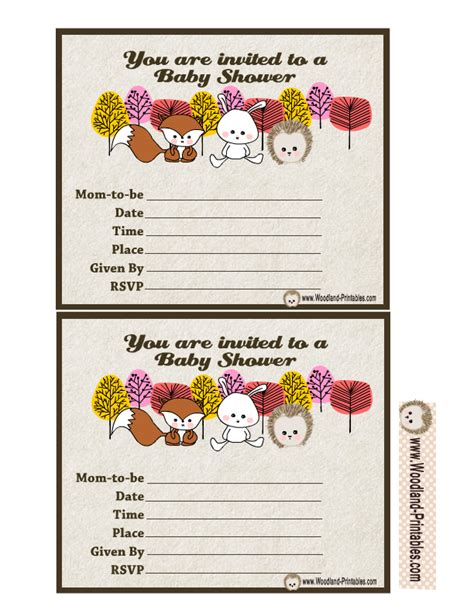 free printable animal invitations free printable woodland baby shower party invitations