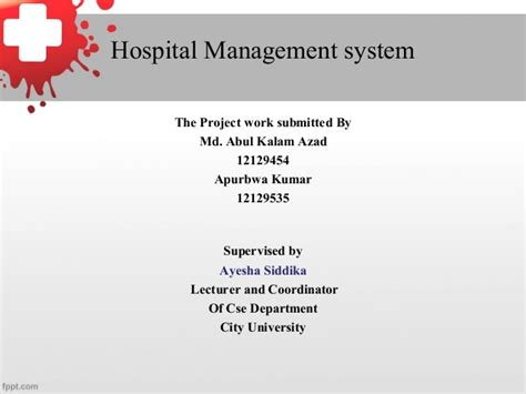 Mba Hospital Administration Projects by Hospital Management Report Presentation